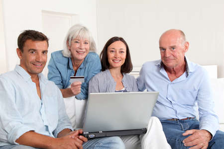 Senior people with couple doing shopping online Stock Photo - 9901343