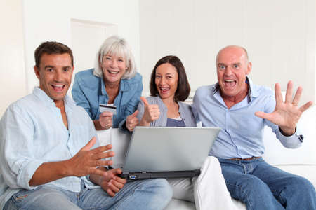 Senior people with couple doing shopping online Stock Photo - 9903345