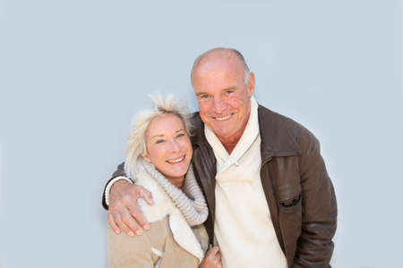 couple winter: Portrait of happy senior couple
