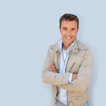smiling man: Portrait of handsome man with jacket Stock Photo