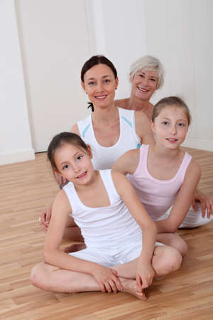 grandkids: Portrait of family in fitness outfit Stock Photo