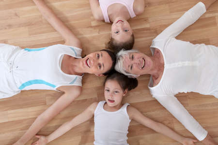 grandkids: View of family in fitness outfit