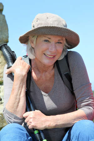 Portrait of senior woman in hiking outfit Stock Photo - 9909089
