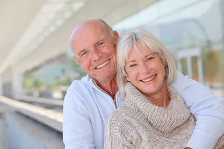 60 years old: Portrait of smiling senior couple Stock Photo