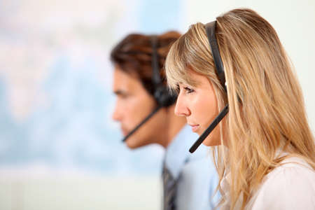 call center office: People working in call center