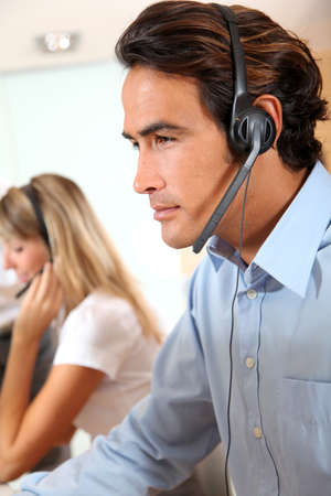 Customer service assistant with headset  photo