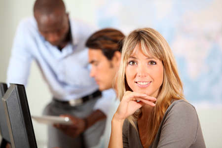 Portrait of blond smiling office worker Stock Photo - 9902851