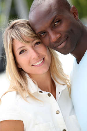 mixed ethnicities: Portrait of happy loving couple