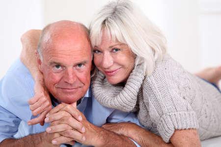 senior home: Portrait of happy senior couple