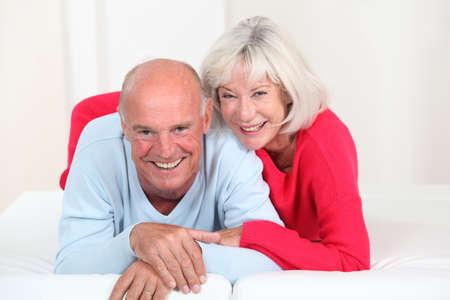 man woman hugging: Portrait of happy senior couple