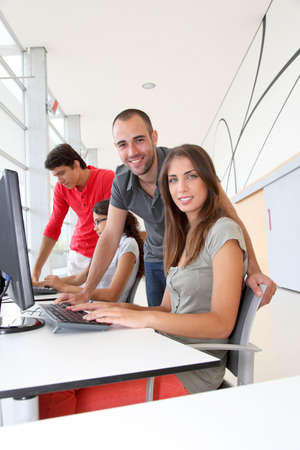 computer lab: Group of young people in training course