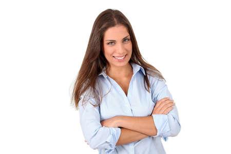 Beautiful woman standing on white background photo