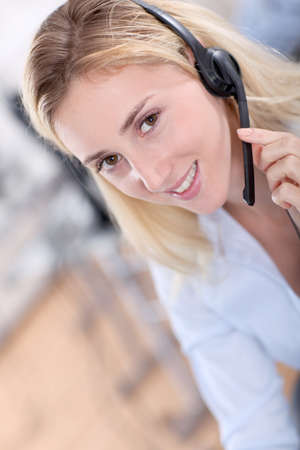 callcenter: Portrait of beautiful customer service woman