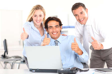 boss and employee: Cheerful business team in meeting Stock Photo