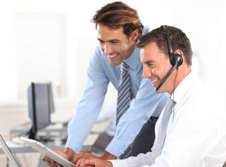 callcenter: Business people working in call center