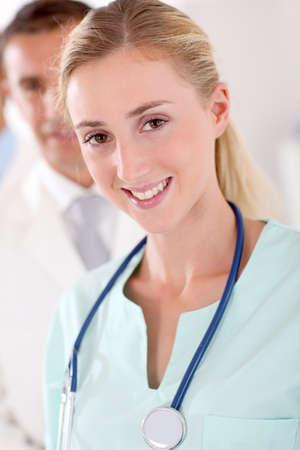 Portrait of beautiful young nurse photo