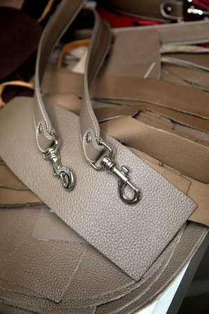 Closeup on leather belts for handbags photo