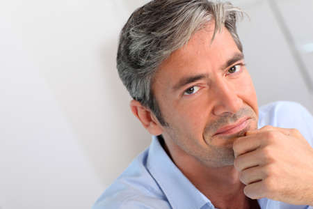 gray hairs: Portrait of handsome 40-year-old man