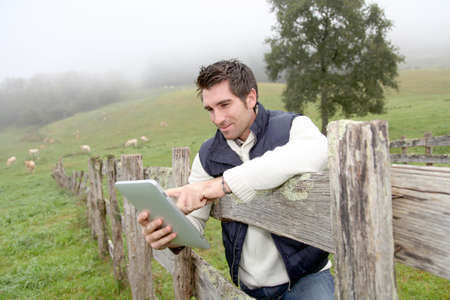 pasturage: Breeder using electronic tablet in field