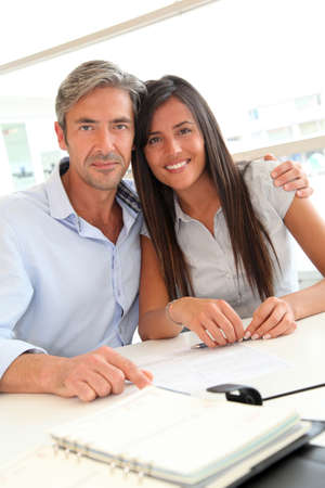 Portrait of father and girl in real-estate agency Stock Photo - 10979333