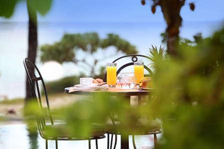 mauritius: Zicht op ontbijttafel ter plaatse restaurant Stockfoto