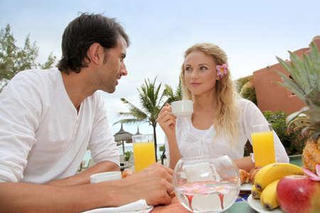Couple having breakfast in luxury resort Stock Photo - 11283905