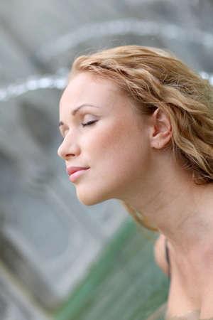hot springs: Closeup of blond woman in spa pool