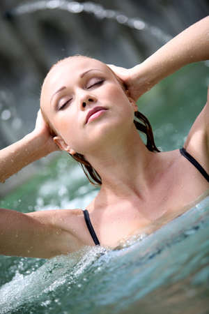Beautiful woman in spa pool with jets Stock Photo - 11503491