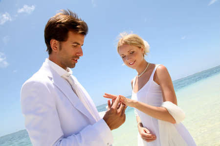 Wedding on a white sandy beach photo