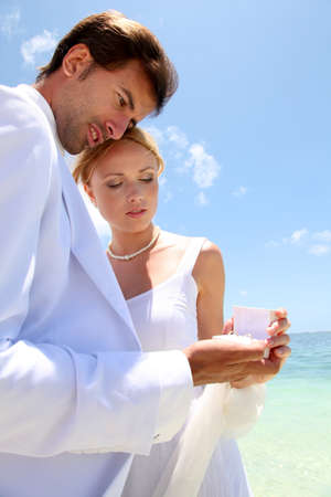 Wedding on a white sandy beach photo