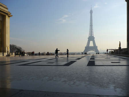 trocadero: View of the Eiffel Tower from Trocadero Stock Photo