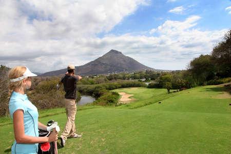 mauritius: Paar op golf green