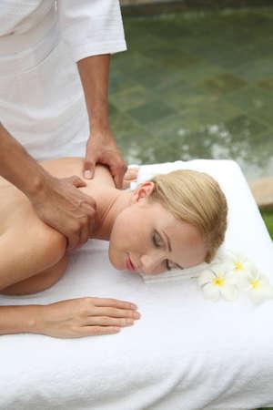 Beautiful woman having a massage on her back Stock Photo - 11518333