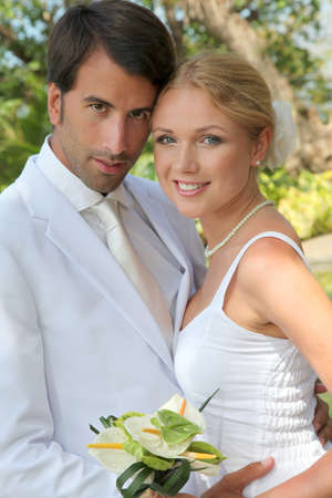 Bride and groom on their wedding day photo