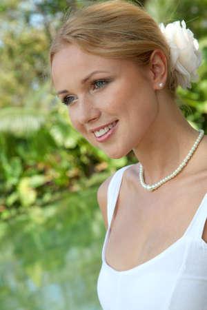 Portrait of beautiful bride photo