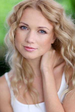 beautiful blonde woman: Portrait of attractive blond woman Stock Photo