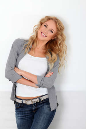Beautiful blond woman with trendy look photo