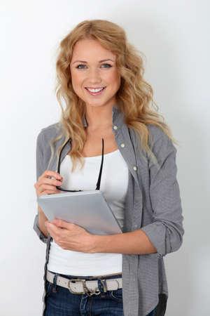 saleswomen: Beautiful woman with eyewear using electronic tablet