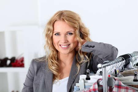shopgirl: Beautiful woman in garment store