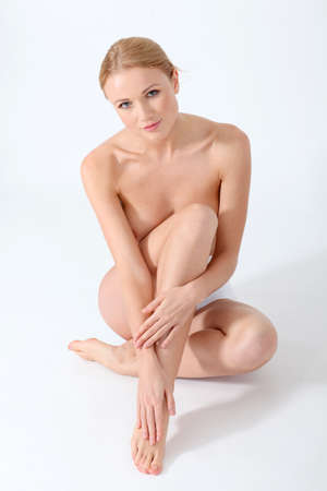 bare women: Beautiful woman and bodycare Stock Photo