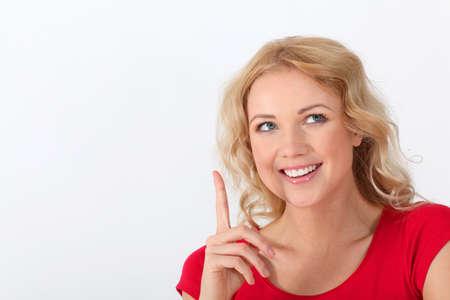 interrogative: Portrait of beautiful blond woman with interrogative look