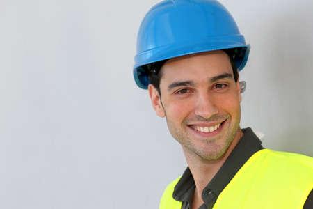 security helmet: Construction trainee with security helmet