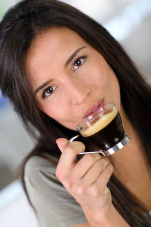 expresso: Portrait of beautiful woman drinking expresso
