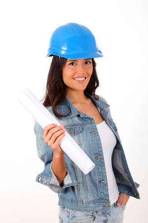 btp: Woman architect standing on white background