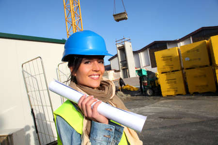 Portrait of smiling architect on building site Stock Photo - 12122228