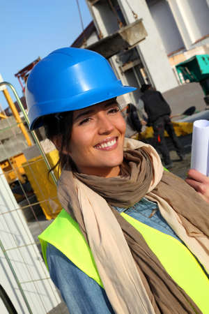 Portrait of smiling architect on building site Stock Photo - 12122348