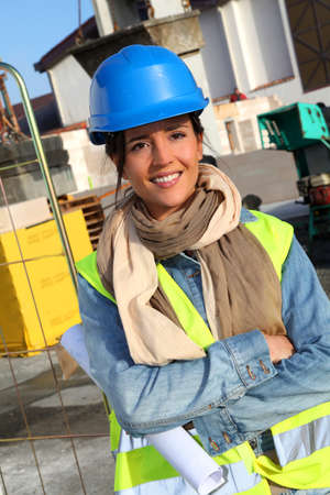 Portrait of smiling architect on building site Stock Photo - 12122333