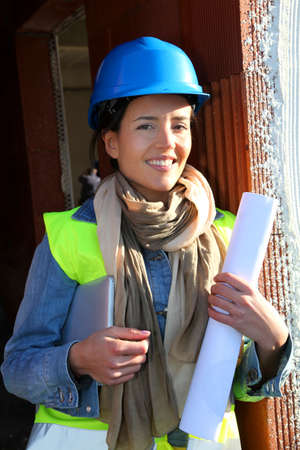 Woman architect standing on construction site Stock Photo - 12122326