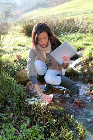 Woman scientist and environmental issues photo