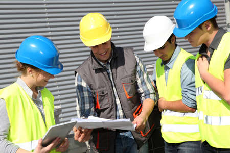 foreman industrial: Group of students in professional training Stock Photo
